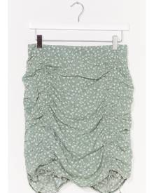 NastyGal Womens ditsy floral ruched mini skirt - Sage