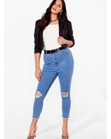NastyGal Womens Plus Size Ripped Skinny Jeans - Light Wash