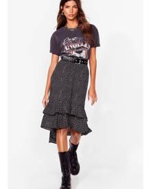 NastyGal Womens polka dot ruffle hem midi skirt - Black