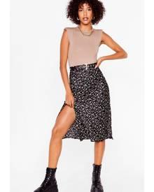 NastyGal Womens Polka Dot Slit Satin Midi Skirt - Black
