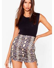 NastyGal Womens Snake Print Ruched Bodycon Mini Skirt - Brown