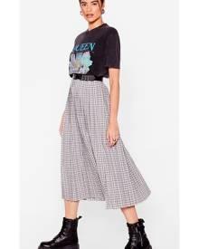 NastyGal Womens Flowy Check Pleated Midi Skirt - Mono