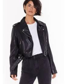 NastyGal Womens Leather Have I Ever Leather Biker Jacket - Black