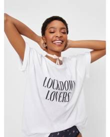 NastyGal Womens Lockdown Lovers Oversized Graphic T-Shirt - White