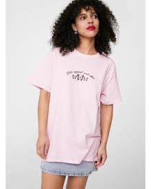 NastyGal Womens Girls Support Each Other Oversized Graphic T-Shirt - Pink