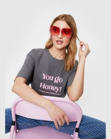 NastyGal Womens You Go Honey Oversized Graphic T-Shirt - Charcoal