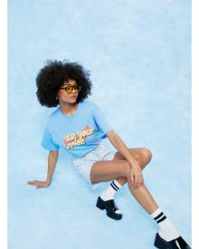 NastyGal Womens Use Your Voice Oversized Graphic T-Shirt - Blue
