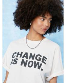 NastyGal Womens Change is Now Oversized Graphic T-Shirt - Sand