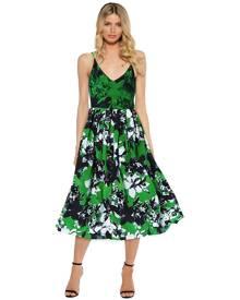 Shakuhachi - Photographic Green Cami Midi Dress