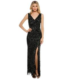 Montique - Layla Hand Beaded Gown - Gold Sequin