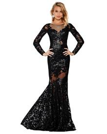 Jovani - Long Sleeve Lace Dress
