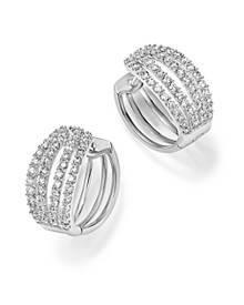 Bloomingdale's Diamond Four Row Hoop Earrings in 14K White Gold, 1.0 ct. t.w. - 100% Exclusive