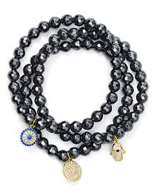 Aqua Beaded Bracelets in Gold Tone-Plated Sterling Silver and Hematite Tone-Plated Sterling Silver - 100% Exclusive