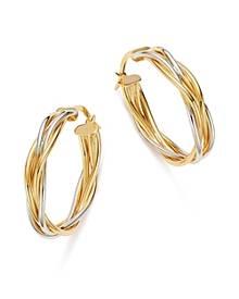 Bloomingdale's Double Braided Oval Hoop Earrings in 14K White & Yellow Gold - 100% Exclusive