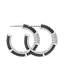 Lagos Sterling Silver Black Caviar Diamond & Black Ceramic Hoop Earrings