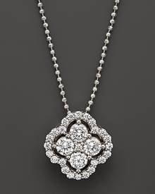 Bloomingdale's Diamond Cluster Pendant Necklace in 14K White Gold, .75 ct. t.w. - 100% Exclusive