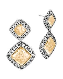 John Hardy Hammered 18K Yellow Gold and Sterling Silver Classic Chain Drop Earrings