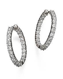 Roberto Coin 18K White Gold Diamond Inside-Out Hoop Earrings