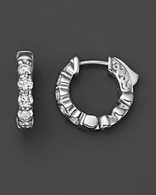 Bloomingdale's Diamond Hoop Earrings in 14K White Gold, 1.0 ct. t.w. - 100% Exclusive