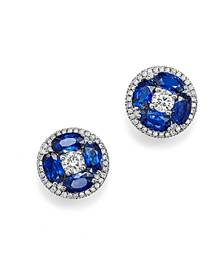 Bloomingdale's Sapphire and Diamond Stud Earrings in 14K White Gold - 100% Exclusive