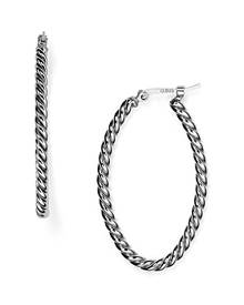 Bloomingdale's Sterling Silver Twisted Oval Hoop Earrings - 100% Exclusive