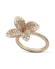 Pasquale Bruni 18K Rose Gold Secret Garden Pave Diamond Four Petal Flower Ring