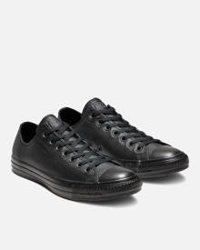 Converse Unisex Chuck Taylor All Star OX Leather Trainers - Black Monochrome - UK 3 - Black