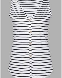 Striped Button V-Neck Tie Tank without Necklace