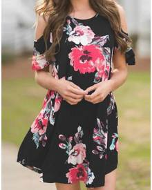 Floral Cold Shoulder Mini Dress