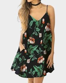 Floral Pocket Spaghetti Strap Mini Dress without Necklace