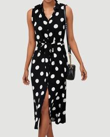Polka Dot Sleeveless Casual Dress