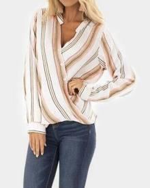 Striped Button V-Neck Blouse