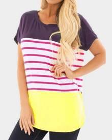 Striped O-Neck Short Sleeve T-Shirt Tee