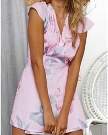 Floral Deep V-Neck Mini Dress without Necklace