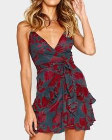 Floral Ruffled Wrap Mini Dress