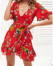 Floral Ruffled Wrap Mini Dress without Necklace
