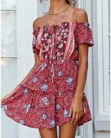 Floral Tie Off Shoulder Mini Dress without Necklace