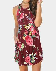 Floral Pocket Sleeveless Mini Dress without Necklace