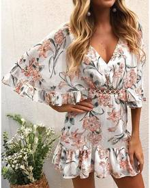 Floral Ruffled Hollow Out Mini Dress