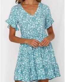 Floral Ruffled V-Neck Mini Dress