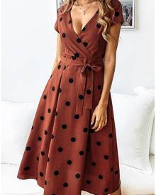 Polka Dot Wrap Casual Dress without Necklace