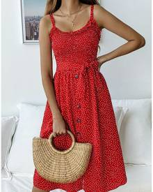 Polka Dot Ruffled Casual Dress