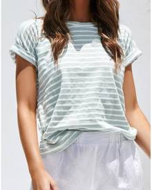Striped O-Neck Short Sleeve T-Shirt Tee - Light Green