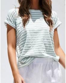 Striped O-Neck Short Sleeve T-Shirt Tee - Light Green