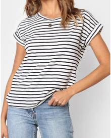 Striped O-Neck Short Sleeve T-Shirt Tee - Black