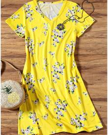 Floral V-Neck Short Sleeve Mini Dress - Yellow