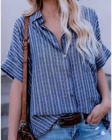 Striped Button Short Sleeve Shirt - Blue
