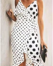 Polka Dot Ruffled Mini Dress without Necklace -White
