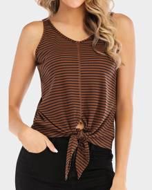 Striped V-Neck Tie Tank - Brown