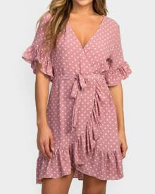 Polka Dot Tie Ruffled Mini Dress -Pink